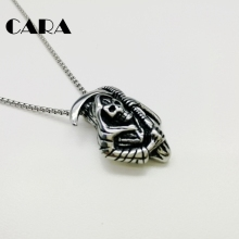 CARA New Gothetic Retro Vintage 316L stainless steel Grim Reaper Charm necklace for men & women punk hip hop necklace CARA0176