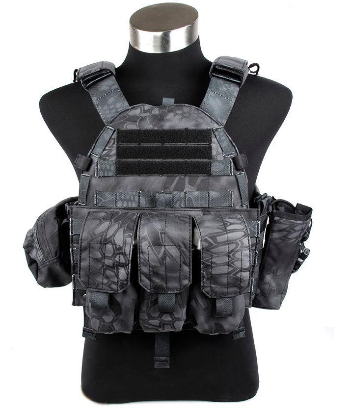 Zwarte Typhon Tactische Militaire 6094 Stijl Plate Carrier Vest Met 3 Zakjes Bag