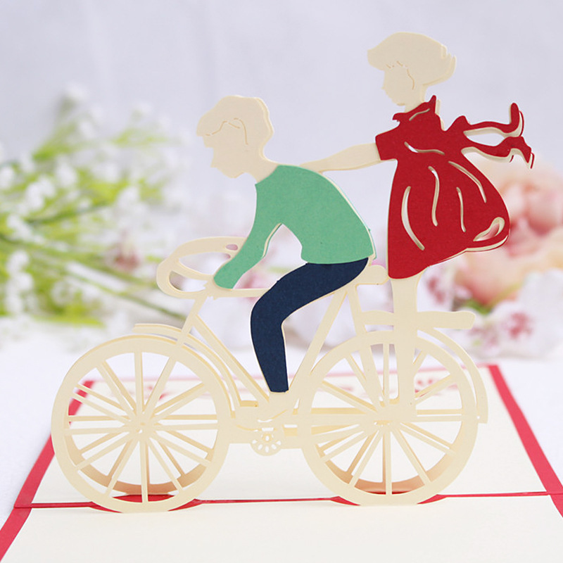 10pcs Laser Cut Wedding Invitations Handmade 3D Greeting Card Cubic Ride A  Bike Lover Couples Valentineu0027s