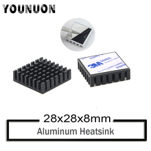 10Pcs YOUNUON Black 28mm x 28mm x 8mm Black Heatsink Cooling Fin Aluminum Heat Sink Radiator Cooler Black Heatsink 28*28*8mm 40120026 aluminum heatsink radiator black 37 x 37 x 3mm