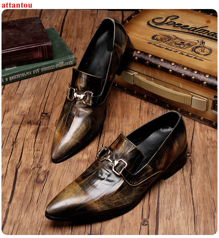 Men's Leather Shoes bronze color Single Shoes Pointed Toe Slip-on Male Casual Shoe Metal Decor Office Meeting Feast Formal Shoes hot sale autumn silver pointed toe men dress shoes black leather luxury male casual shoes slip on man office feast formal shoes
