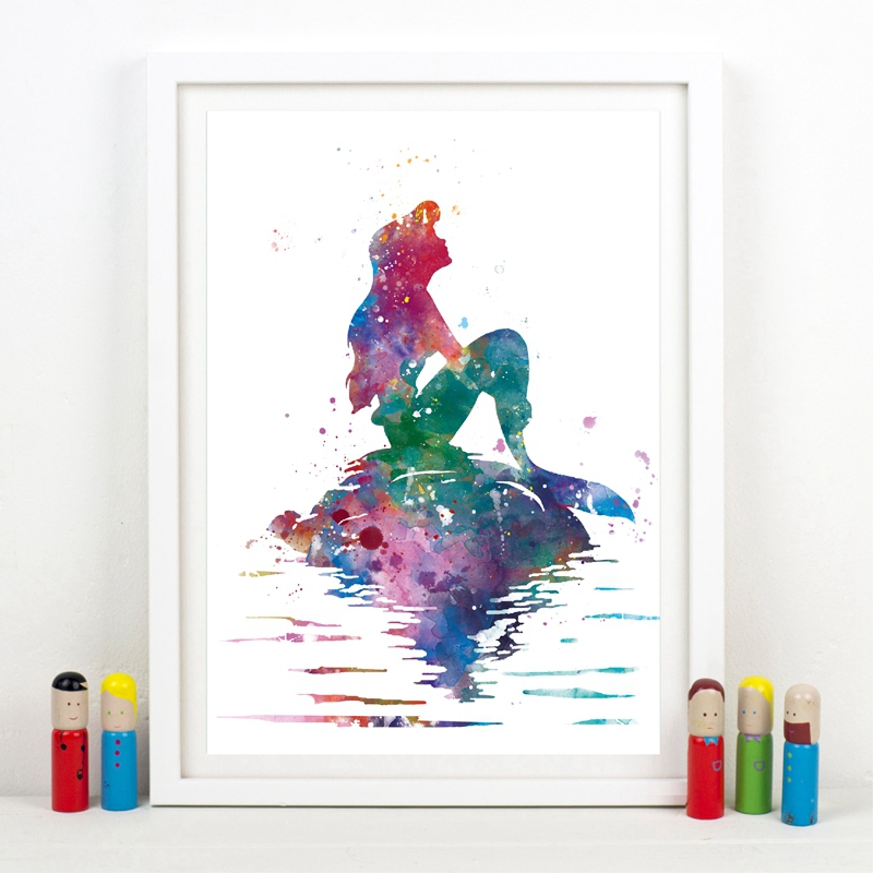 Princess Ariel Art Print Ariel Little Mermaid Watercolor Poster Nursery Wall Art Picture Canvas Painting Girls Room Wall Decor