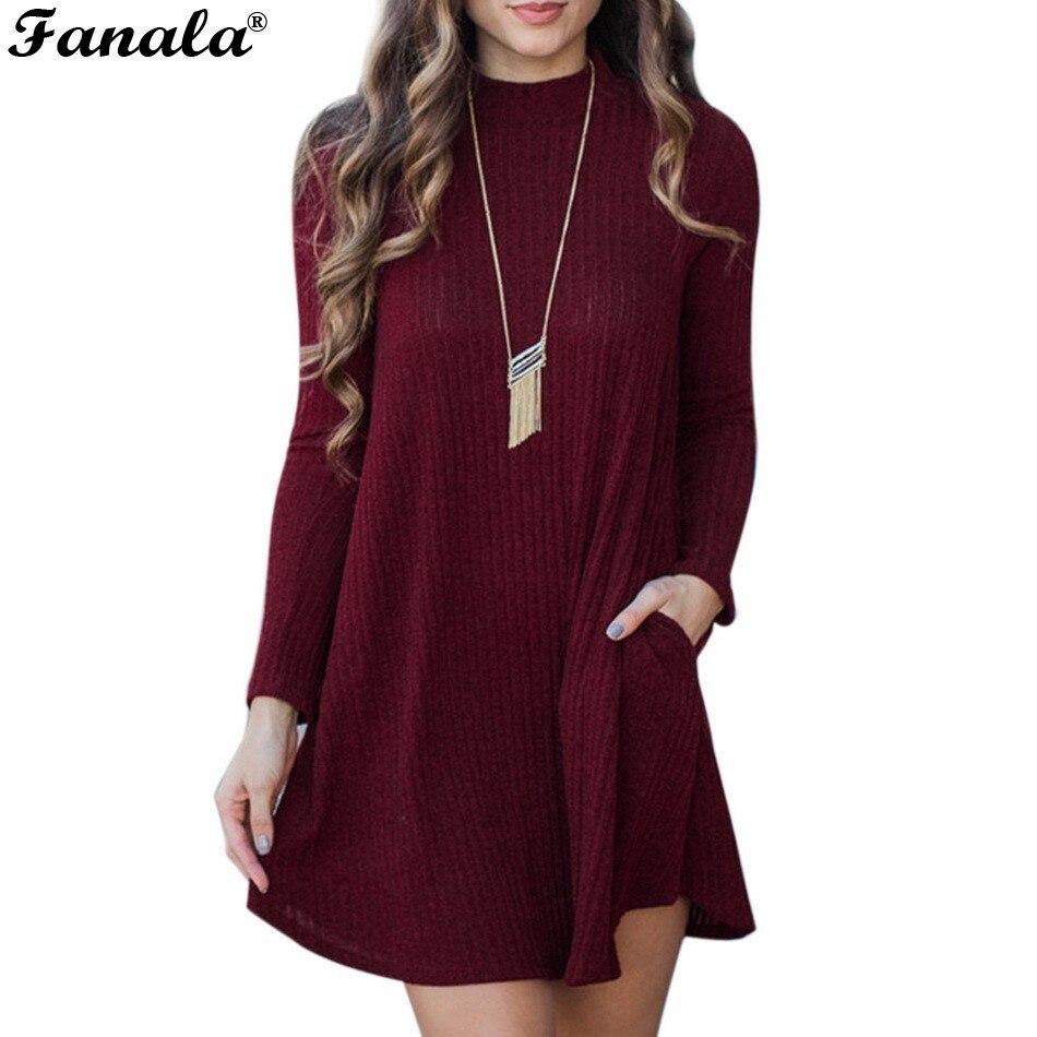 New Spring Autumn Slim Sweater Dress A-Line Dress Casual Women Knitted Long Sleeve Office Dresses Long Sleeve Dress Vestidos