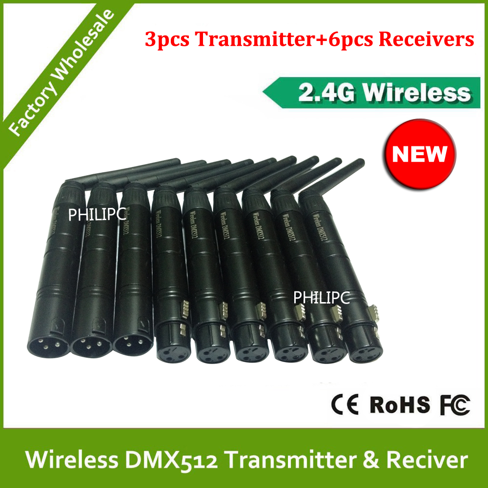DHL Free Shipping 3pcs 2.4Ghz Wireless DMX512 signal emission Controller + 6 pcs wireless receiver 2.4 G DMX Controller