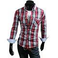 2015 новых людей с длинными рукавами свободного покроя клетчатую рубашку мужчины клетчатые рубашки платья, Тонкий стильный 50% хлопчатобумажную рубашку 6100 M-4XL
