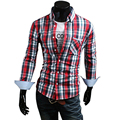 2015 nuevos hombres de manga larga Casual Plaid camisa a cuadros camisas de vestir, elegante delgada 50% camisa de algodón 6100 M-4XL