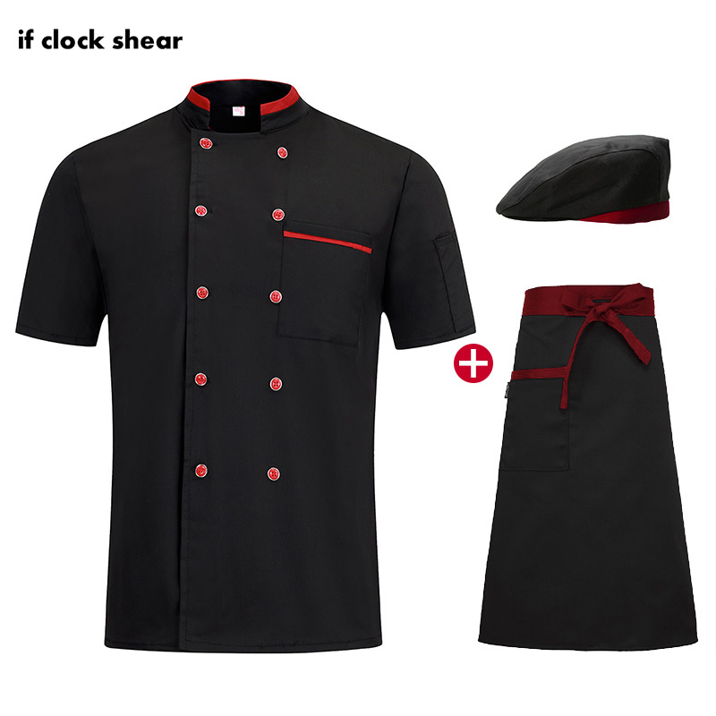 Short Sleeve Chef Work Clothes Chef Restaurant Uniforms Double Breasted Breathable Catering Jacket + Hat + Apron Men And Women