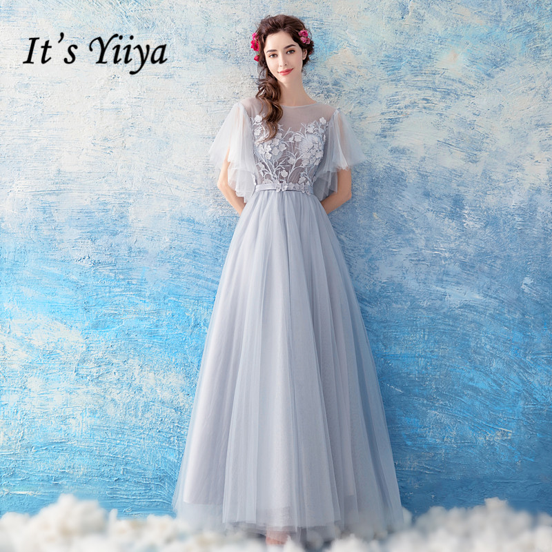 It's YiiYa   Evening     Dress   Embroidery Flowers Gray Party Gown Pearls Lace Illusion O-neck Zipper Long Wedding Formal   Dresses   E194