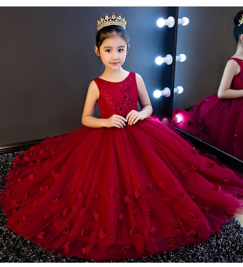 3748 53 De Descuentovestidos De Encaje Rojo De Glizt Vestidos De Niña De Flores Sin Mangas Apliques De Cuentas Vestidos De Primera Comunión Para