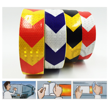 5cmx50m  Reflective warning tape with red white yellow black and blue color arrow printing for car