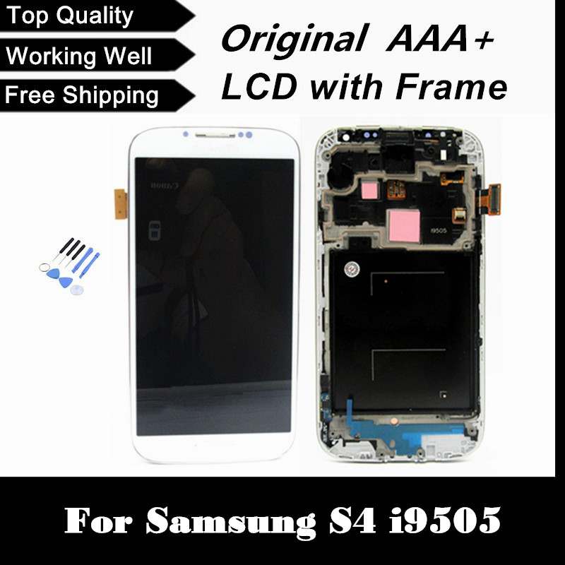 For Samsung Galaxy S4 I9505 Phone LCD Display with Frame Touch Screen Digitizer Assembly Dark Blue/White/Black Color