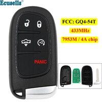 5 botão inteligente remoto chave fob para jeep cherokee ram 433 mhz com 7953 m 4a chip fcc: GQ4 54T|Chave do carro| |  -