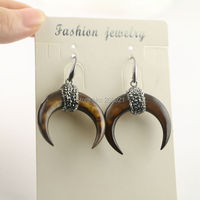 For Women 4Pairs Brown Shell Crescent Moon Horn Earrings With Crystal Rhinestone Paved Fashion Druzy Earring