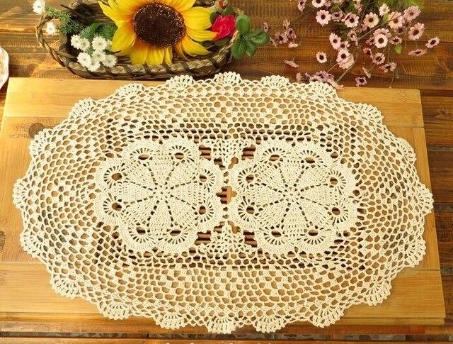 Handgemachte Häkelarbeit blumen Oval Tischdecken Baumwolle Deckchen ...