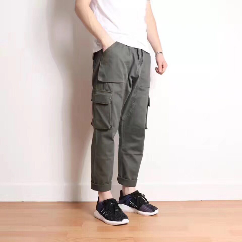 High Quality Brand Clothing Casual Trousers Drawstring Denim Green Cargo Pants Regular Fit Pockets Full Jeans Pants 28-38 A320 jeans men high quality casual denim cotton biker jean regular pants big size long trousers slim fit brand clothing f8