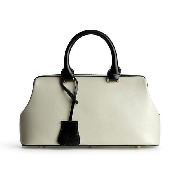 6b2221970b4c Luxury Handbags Women Bags Designer 2018 Genuine Leather Doctor Bags Ladies  Handbags Shoulder Bags Female Top-handle Bags Beige