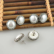 ФОТО 5pairs natural round shell stud earrings crystal rhinestone paved fashion druzy earring charm jewelry