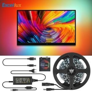 Ambilight-kit 5V WS2812B USB LED Srtip 5050 RGB 1M 2M 3M 4M 5M kolor marzeń dla HDTV pulpit PC ekran oświetlenie tła
