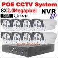 Full HD 8CH 1080 P IRCUT onvif POE комплект POE NVR 8 ШТ. 2.0mp PoE Ip-камера P2P Облачный Сервис видеонаблюдения системы видеонаблюдения система