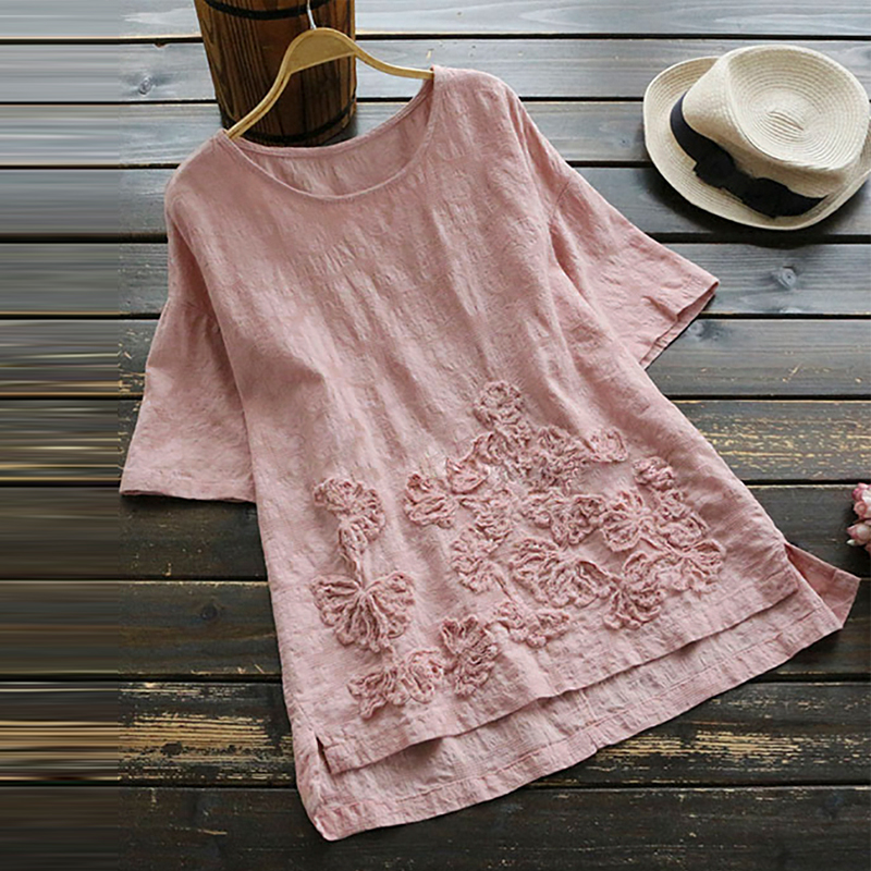 2018 Summer Women Casual O Neck Short Sleeve Cotton Linen Flower Blouse Loose Lace Crochet Splice Top Blusa White Pink Shirt