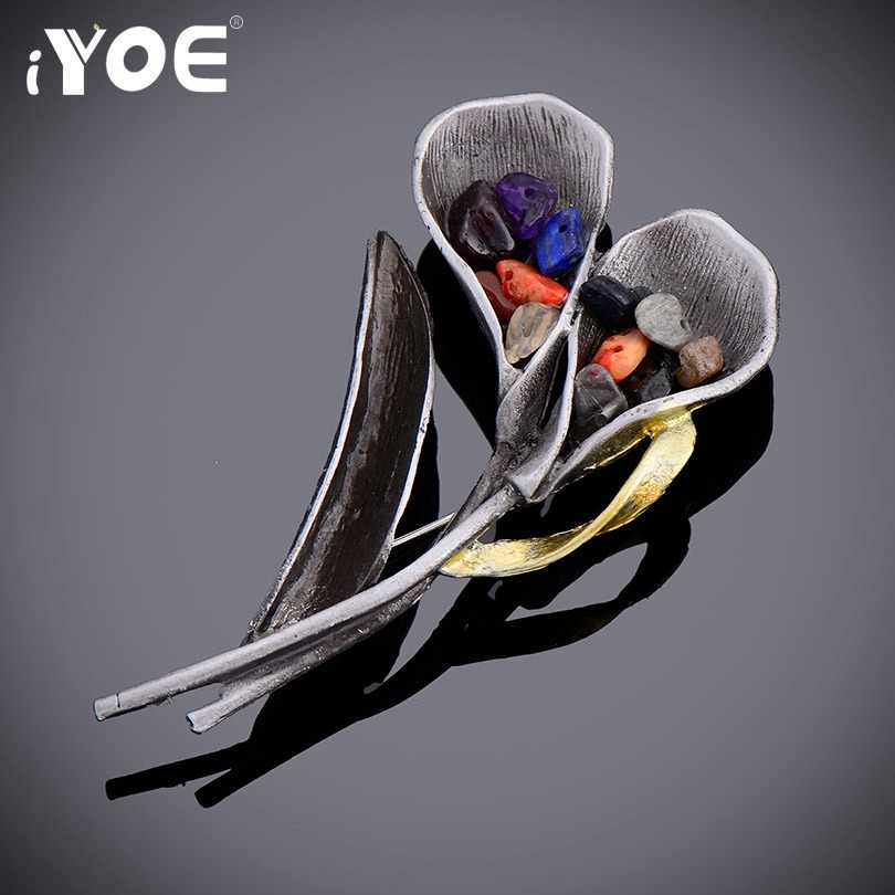 IYOE Retro Antique Silver Color Leaf Brooch For Women Natural Stones Fashion Double Flower Broches Pins Jewelry Gifts Hot