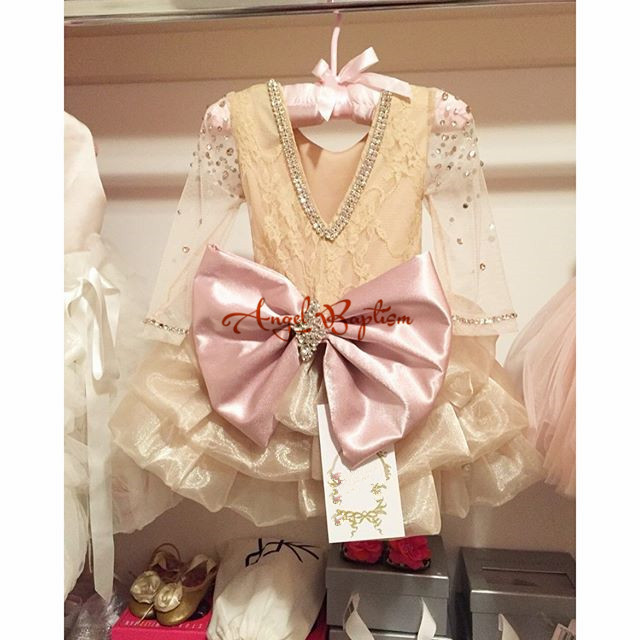 Bling Crystals champagne Long Sleeves Flower Girl Dresses for Baby Birthday With Bow party evening prom cake dresses