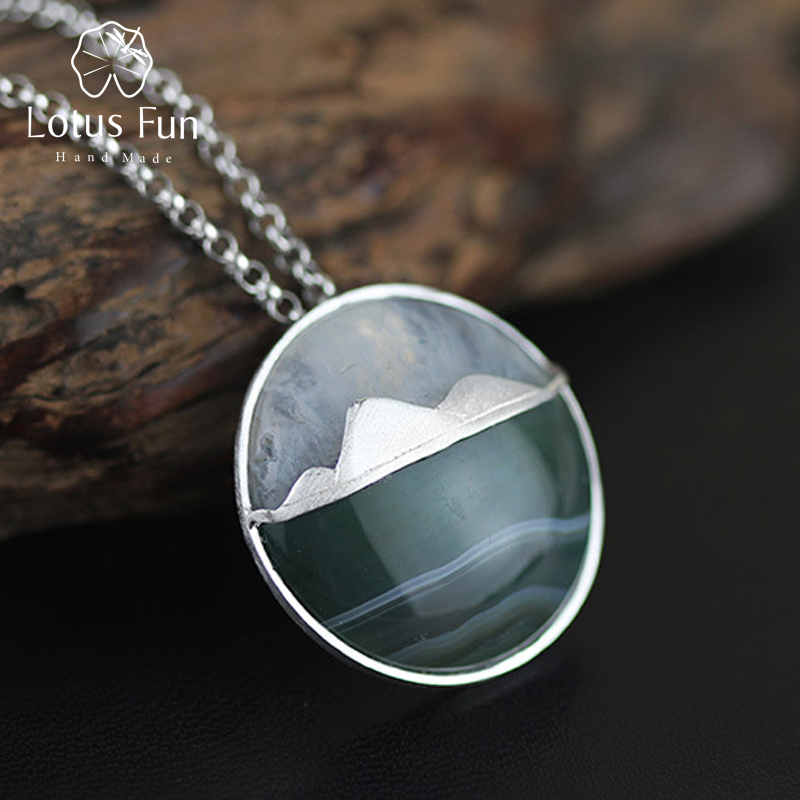Lotus Fun Real 925 Sterling Silver Natural Handmade Fine Jewelry Creative Mountain Design Pendant without Necklace