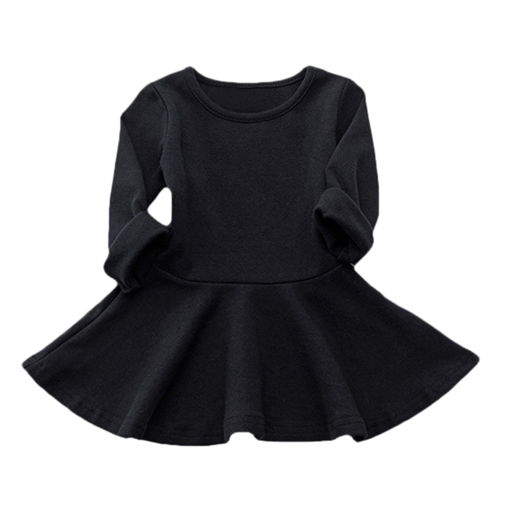 18M-6T Kids 2017 Baby Girls Dress Candy Color Long Sleeve Spring and Autumn Toddler Girls Clothing Children Princess Dress baby girls dress 2016 autumn winter children kids clothing denim jeans long sleeve baby girls princess dress blue color for 2 7y