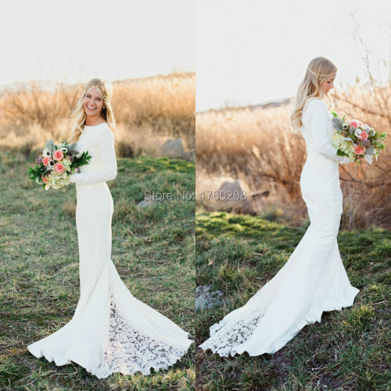 Country Western Scoop Mermaid Long Sleeve Satin Lace Boho Wedding Dress Bohemian Gowns LS09199 In Dresses From Weddings Events On