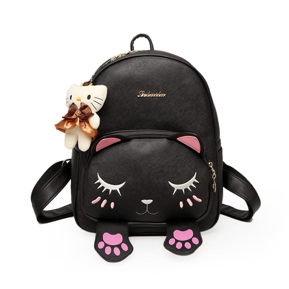 Pretty Cat Backpack Ear Women Leather Backpacks Girl School Rugzak Black Cute High Quality PU Backpack