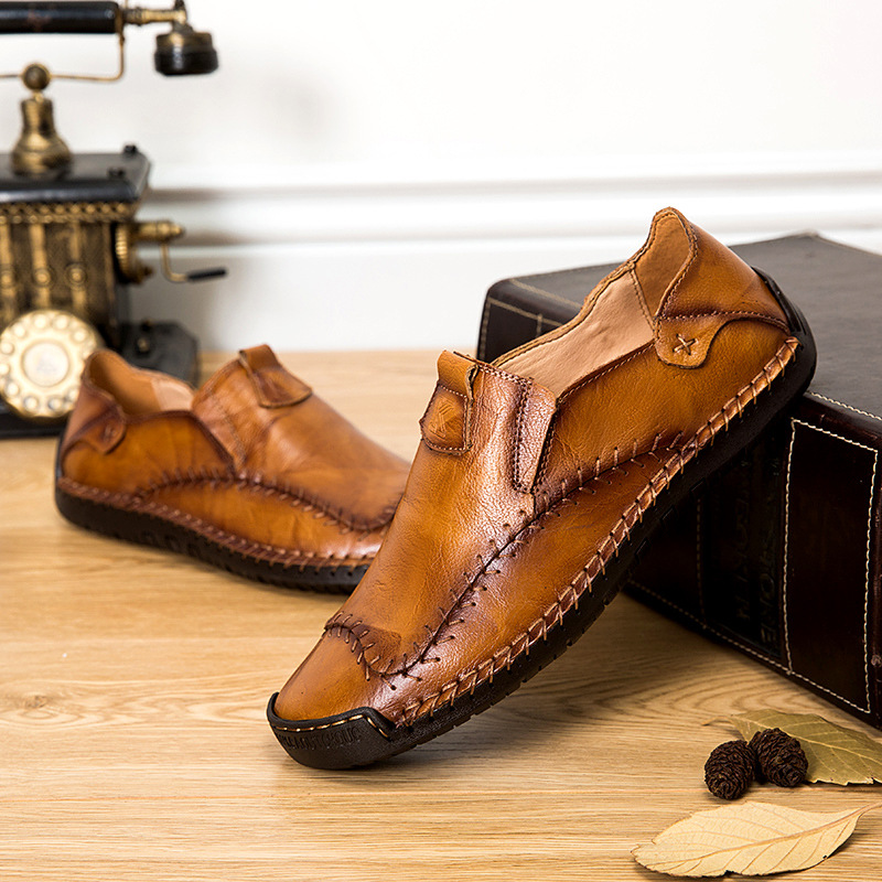 Men Loafers Moccasin Shoes Split Leather Slip on Casual Shoes Plus Size Brown Shoes Male Soft
