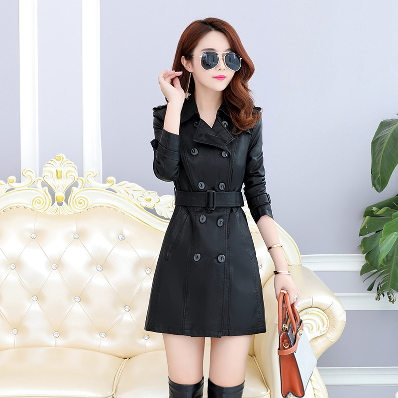 M-5XL Autumn Winter Women Long   Leather   Jacket Slim Plus Size Bow Belt Motorcycle PU   Leather   Coat   Leather   Trench