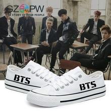 Zapatos bajos de la lona de GZPW zapatos cosplay blancos de BTS 2017 Hombres calientes de la venta y zapatos casuales clásicos nuevos pares de la manera calzan el tamaño 35-44big