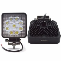 2PCS LED Work Light 4 Inch 27W Flood Beam Square Fog Driving Lamp 12V For Tractor