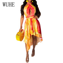 WUHE Sexy Cross Halter Asymmetrical Vintage Dress Women Hollow Out Sleeveless Lace-up Summer Retro Party Robe De Plage