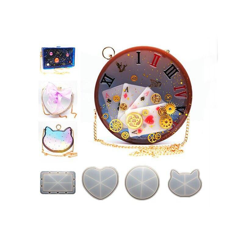 Bricolage Silicone moule pendentif bijoux accessoires clair embrayage sac à main chat moules à la main résine artisanat Cabochon charmes moule outils