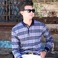 Xxxl tamaño de alta calidad de los nuevos hombres camisas de polo de la marca de ropa Gris a cuadros de Manga Larga Camisa Polos Polos Camisa de Los Hombres de Negocios camisas