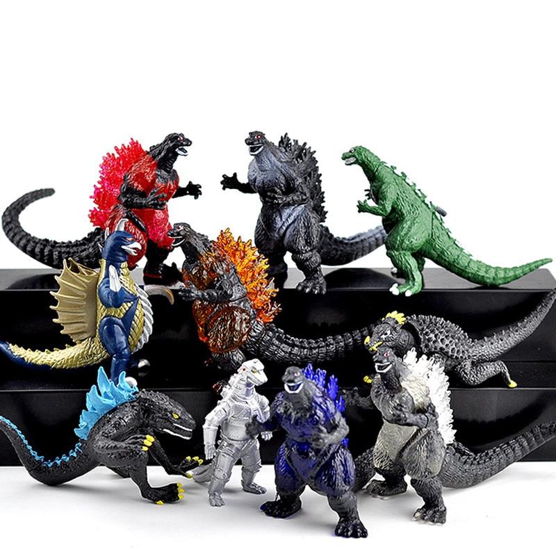 10Pcs/set Godzilla Ultraman Superman Monster Dinosaur PVC Action Figures Collectible Model Toys Children Birthday Gift