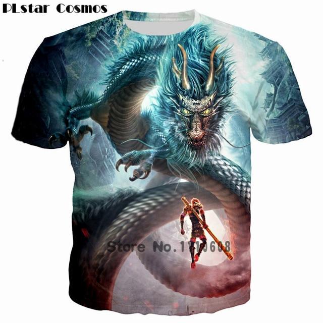 42dc46c20d01 PLstar Cosmos 2018 Men Animal 3D Print T shirt Monkey King Goku Hero is  back Costume t-shirt Man Dragon tshirt homme Camisetas
