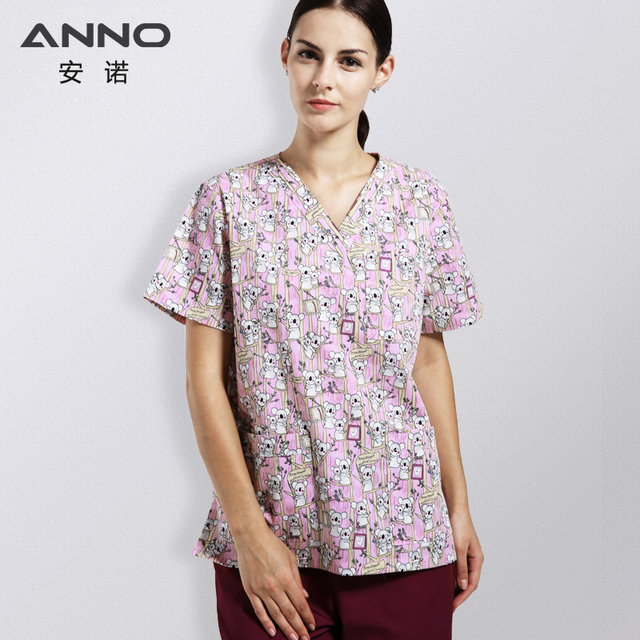 ec2a9102b7f ANNO Cartoon Scrubs Medical Clothing Hospital Suit for women and man Nursing  Uniform Health and Beauty care Work Wear