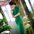 Summer QiPao 2017 Fashion Women Green Lace Cotton Linen Chinese Traditional Dress Half Sleeve Printing Cheongsam