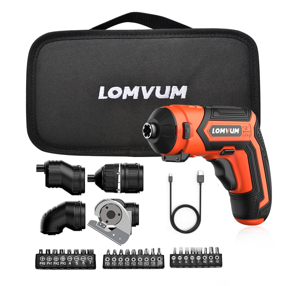 LOMVUM Mini Electric Screwdriver Set 4V Rechargeable Cordless Screwdriver Set 4 Heads Changeable Multifunctonal Screwdriver HomeLOMVUM Mini Electric Screwdriver Set 4V Rechargeable Cordless Screwdriver Set 4 Heads Changeable Multifunctonal Screwdriver Home