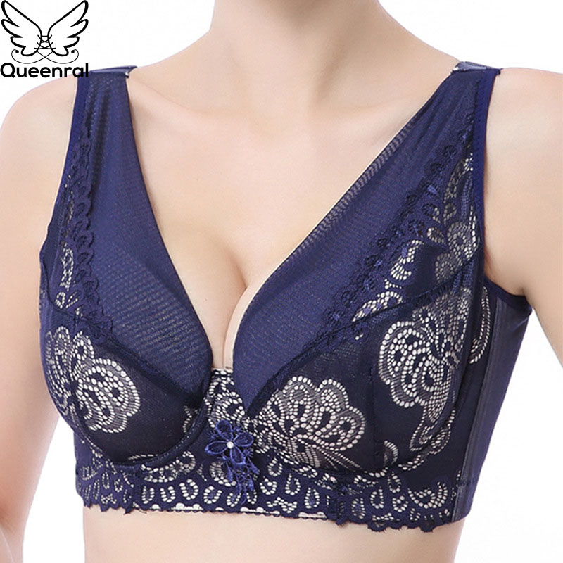 f698319fa3 Detail Feedback Questions about Queenral Full Cup Bras For Women Underwear  BH Plus Size DEF 38 52 Underwire Push Up Brassiere Ladies Intimates  bralette ...