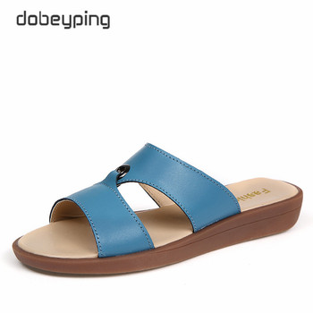 2017 Casual Women's Sandals Real Cow Leather Flats Shoes Women Slip-On Summer Female Slides Leisure Beach Flip Flops Size 35-41