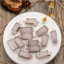 2pcs 10*20mm Rectangle Geode Druzy Quartz Pendant Connectors Natural Stone Agate onyx DIY Making for Necklace Bracelet Z682