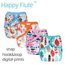 Happy Flute OS детские тканевые подгузники с или без бамбуковой хлопковой вставки, водонепроницаемый дышащий s m& L регулируемый
