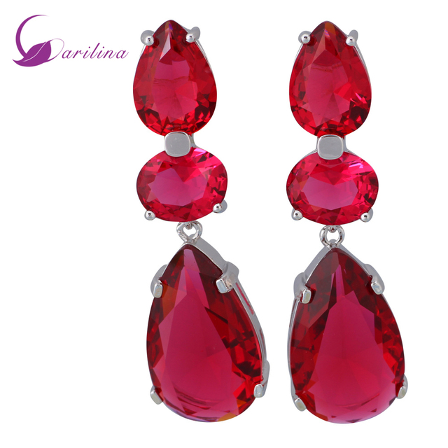 Wedding Accessories Hot Pink Cubic Zirconia 925 Sterling Silver Overlay Red Dangle Earrings Fashion Jewelry E475