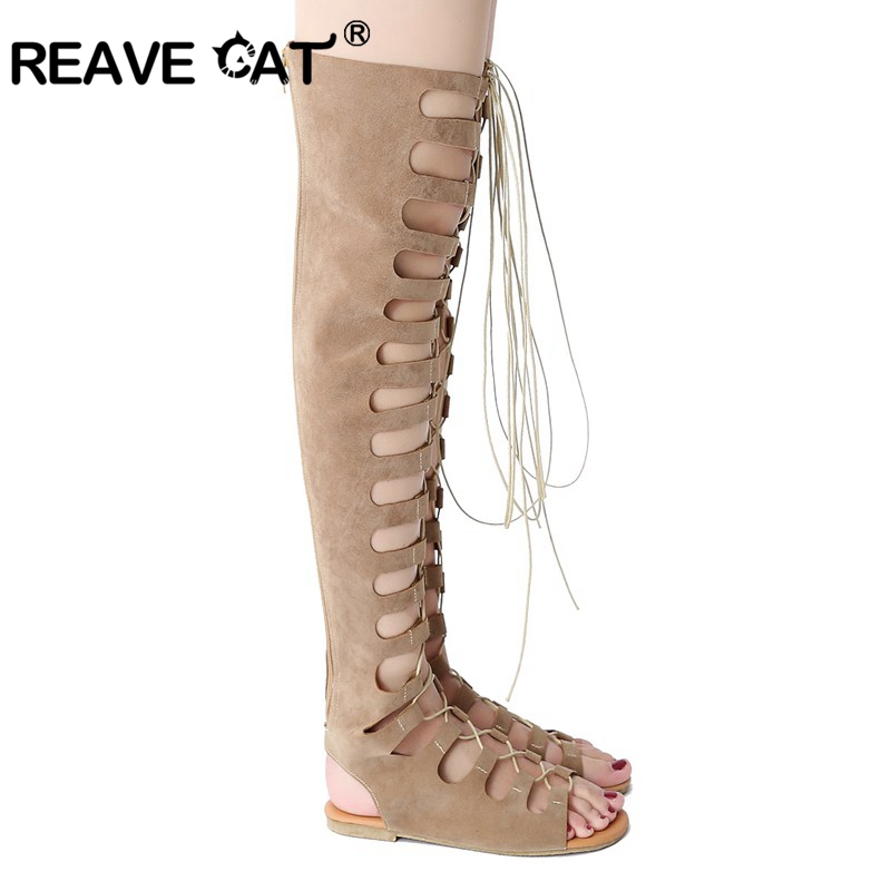 23673f6780d REAVE CAT Brand Women summer boots Over the knee boots Cross tied Zipper Openwork  Sexy Fashion Flats Flock New arrive Big A352-in Over-the-Knee Boots from ...