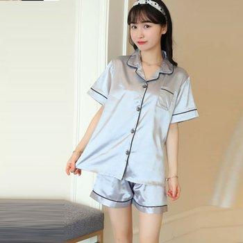 2074913be205a Product Offer. Женский короткий пижамный комплект, шелковая атласная одежда  для сна ...