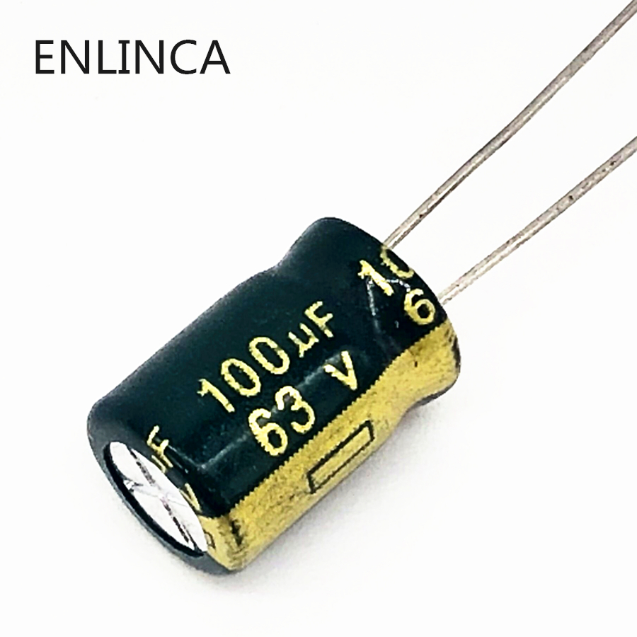 20pcs/lot P94 High Frequency Low Impedance 63v 100UF Aluminum Electrolytic Capacitor Size 8*14 100UF 20%